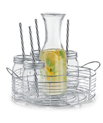set de carafe, bauturi, cos metalic